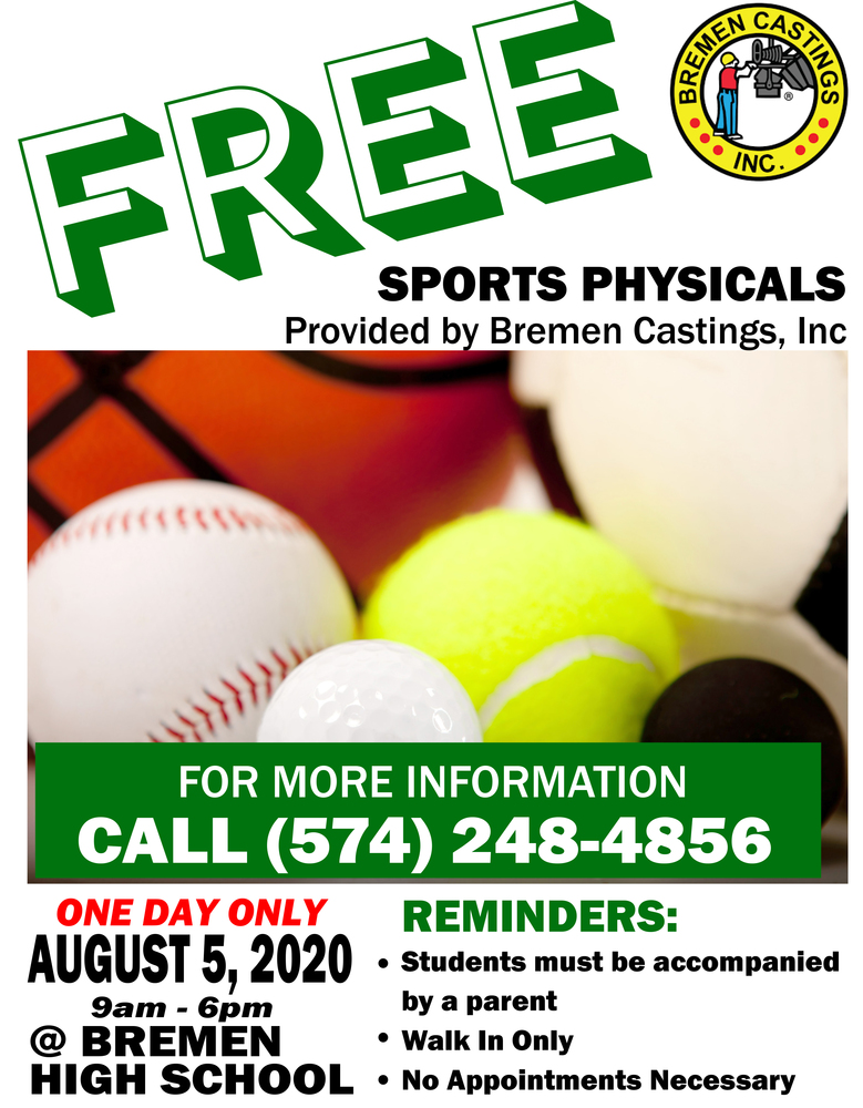 FREE Sports Physicals AUG 5