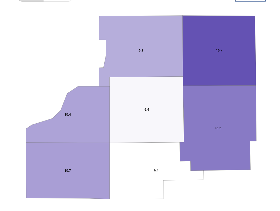 Screenshot of local covid positivity rates.  Marshall county is 6.4