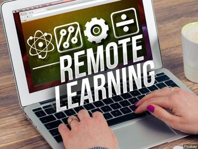 "Notebook computer with the words ""Remote Learning"""