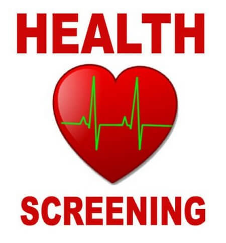 "A heart and the words ""Health Screening"""