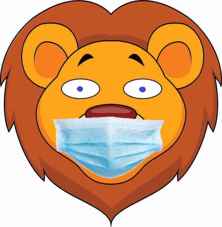 A cartoon lion in a surgical mask